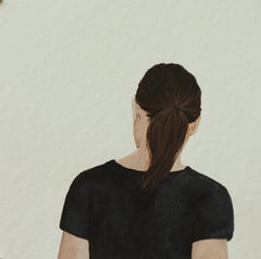 """""""Back Portrait III"""" Contemporary Portrait Painting of a Girl with Ponytail"""