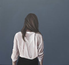 """Back Portrait III"" Contemporary Portrait Painting of a Girl with White Blouse"