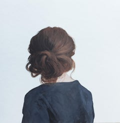 """''Back Portrait XVI"""" Contemporary Portrait Painting of a Girl with Messy Bun"""