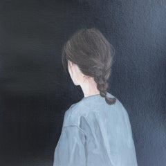 """''Back Portrait XVII"""" Contemporary Portrait Painting of a Girl with Braided Hair"""