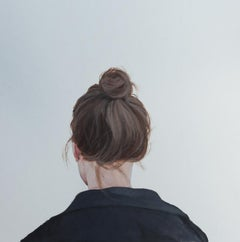 """''Back Portrait XXI'"""" Contemporary Portrait Painting of a Girl with Messy Bun"""