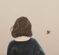 """''It seemed like a Butterfly """" Portrait Painting of a Girl with Butterfly"""