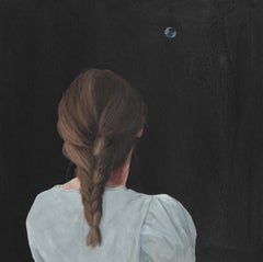 """''Soap Bubble IX'"""" Contemporary Portrait Painting of a Girl with Braided Hair"""
