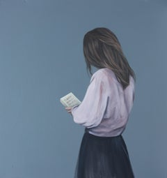 """""""The Reader"""" Contemporary Portrait Painting of a Girl with Book"""