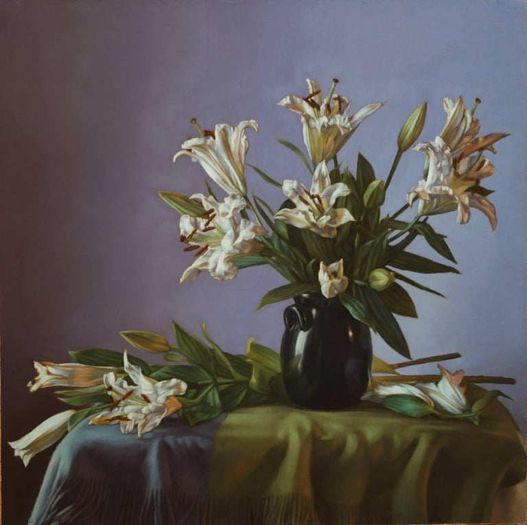 Karoly Mozer White Flowers Painting For Sale At 1stdibs