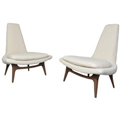 Karpen of California High-Back Lounge Chairs in Kravet Boucle