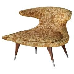 "Karpen of California ""Horn"" Lounge Chair, Fabric, Walnut, Aluminum, 1950s"