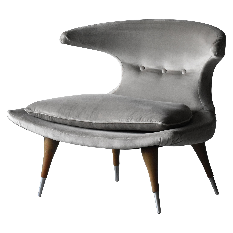 """Karpen of California """"Horn"""" Lounge Chair Grey Velvet, Walnut, Aluminum, 1950s"""