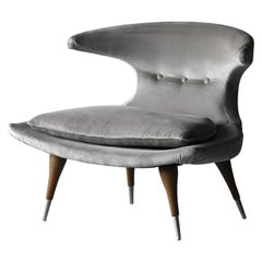 "Karpen of California ""Horn"" Lounge Chair Grey Velvet, Walnut, Aluminum, 1950s"