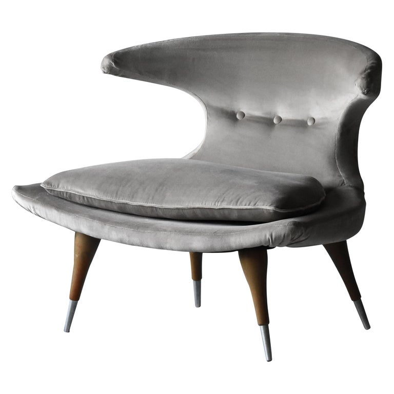 "Karpen of California ""Horn"" Lounge Chair Grey Velvet, Walnut, Aluminum, 1950s For Sale"