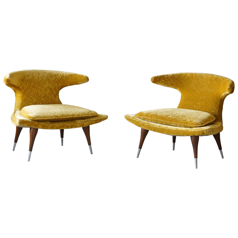 """Karpen of California """"Horn"""" Lounge Chairs yellow Velvet, Walnut, Aluminum, 1960s"""