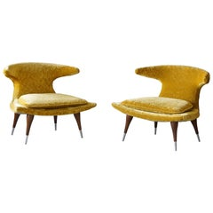 "Karpen of California ""Horn"" Lounge Chairs yellow Velvet, Walnut, Aluminum, 1960s"