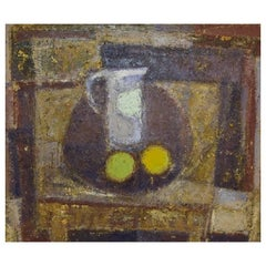 Karsten Winther Listed Danish Artist, Still Life with Jug and Fruit