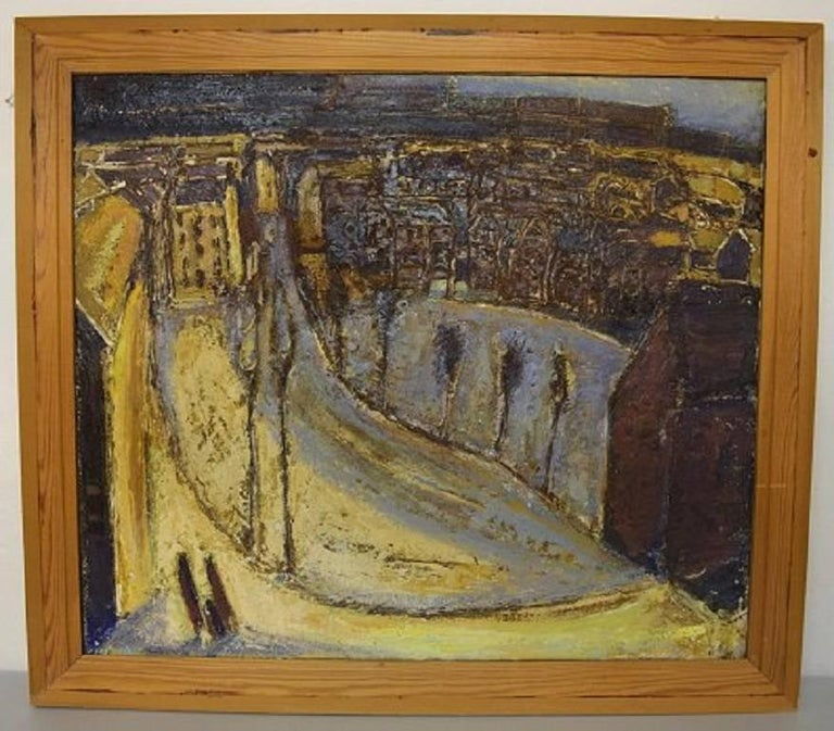 Karsten Winther (born 1934) listed Danish artist. Town scenery.