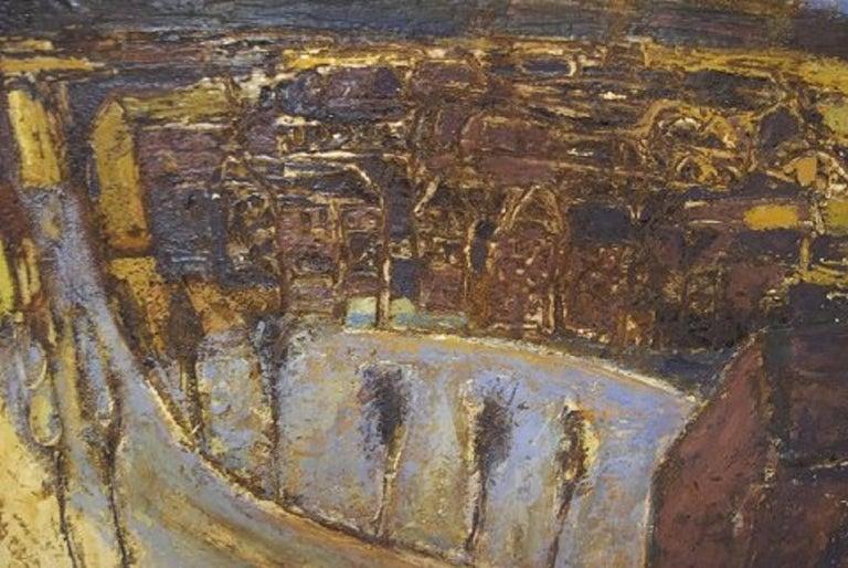 Scandinavian Modern Karsten Winther Listed Danish Artist, Town Scenery For Sale