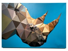 Rhino Blues by KARTEL Oil on canvas pop art triangulated, animal painting