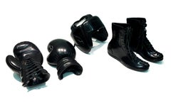 Boxing SET by KARTEL unique hand carved black marble sculpture smooth finish