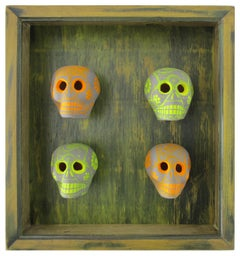 Dia de los Muertos - handmade and painted ceramic skulls with custom frame