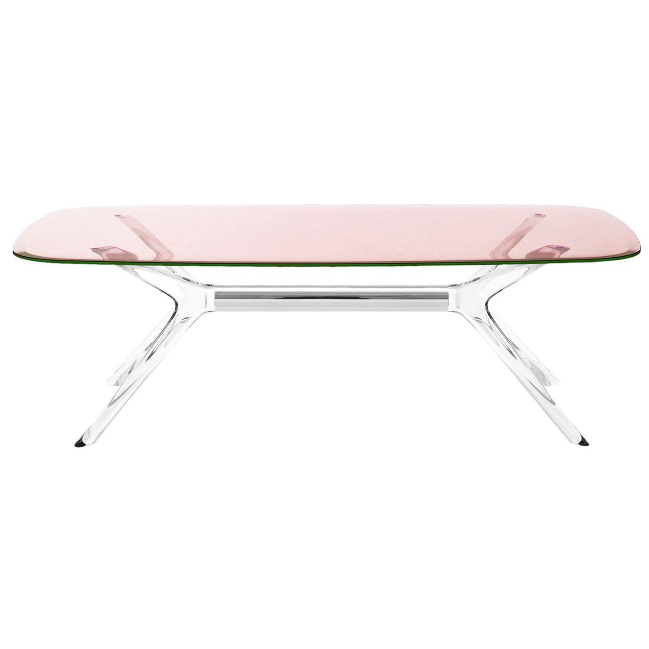 Kartell Blast Rectangle Table in Chrome with Pink Top by Philippe Starck
