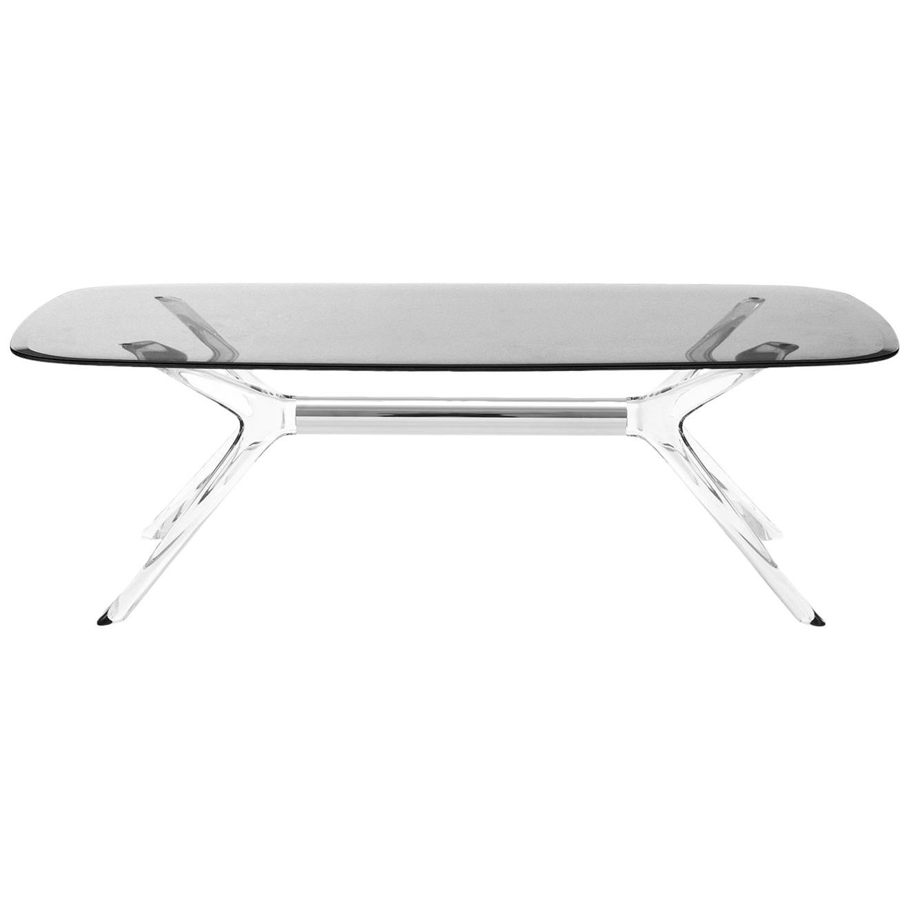 Kartell Blast Rectangle Table in Chrome with Smoke Top by Philippe Starck