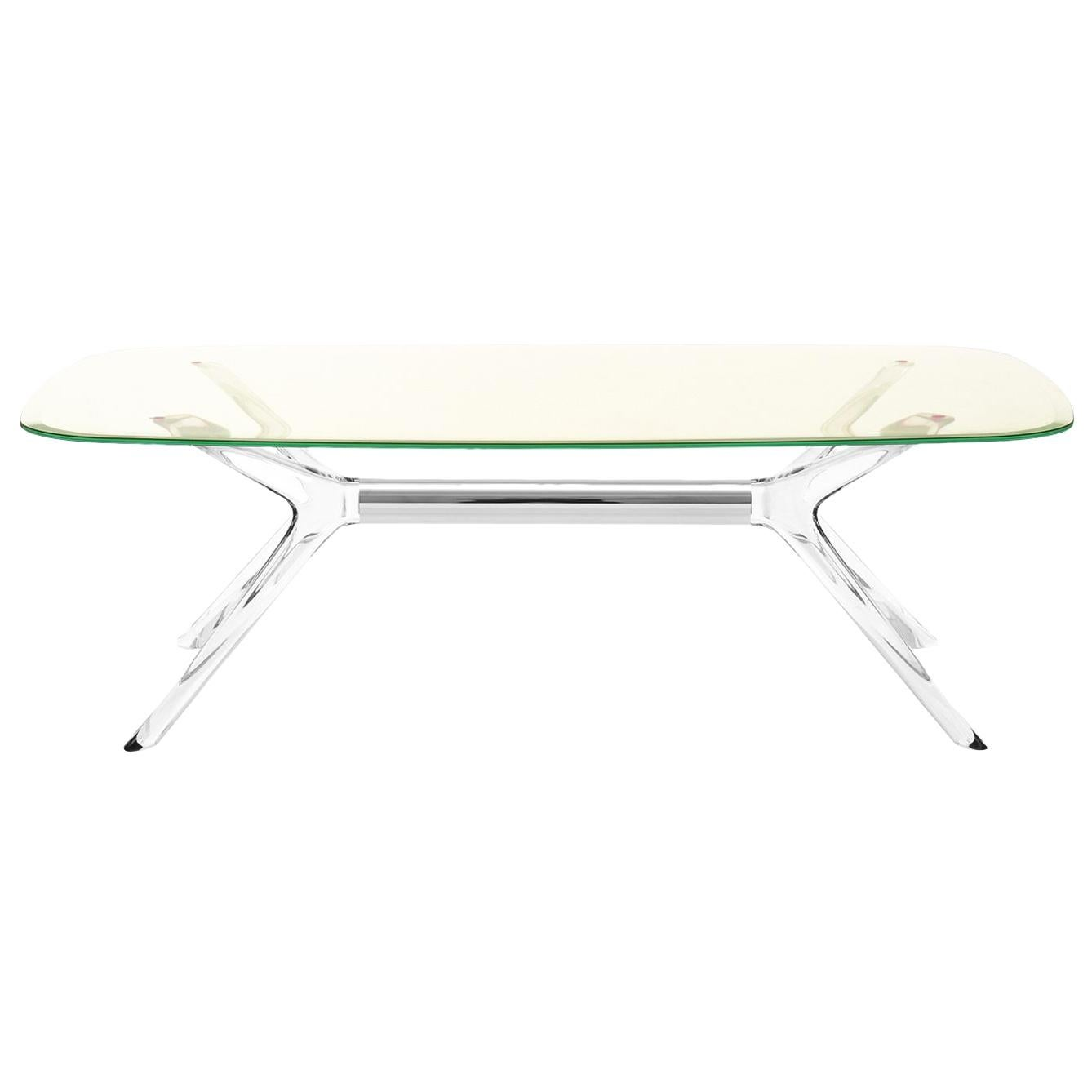 Kartell Blast Rectangle Table in Chrome with Yellow Top by Philippe Starck