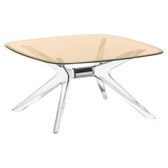 Kartell Blast Square Coffee Table in Chrome with Bronze Top by Philippe Starck