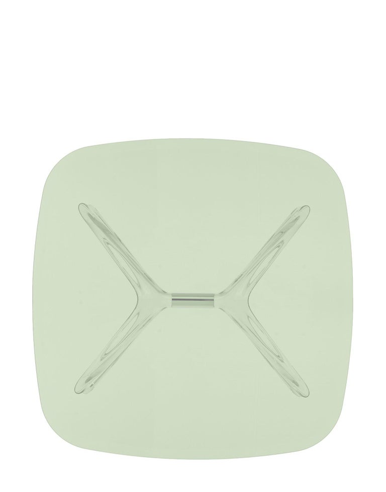Modern Kartell Blast Square Coffee Table in Chrome with Green Top by Philippe Starck For Sale