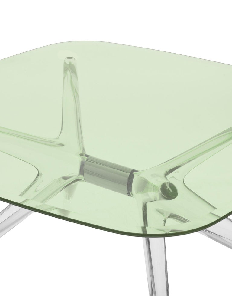 Italian Kartell Blast Square Coffee Table in Chrome with Green Top by Philippe Starck For Sale