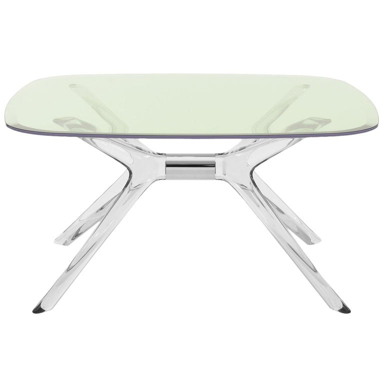 Kartell Blast Square Coffee Table in Chrome with Green Top by Philippe Starck For Sale