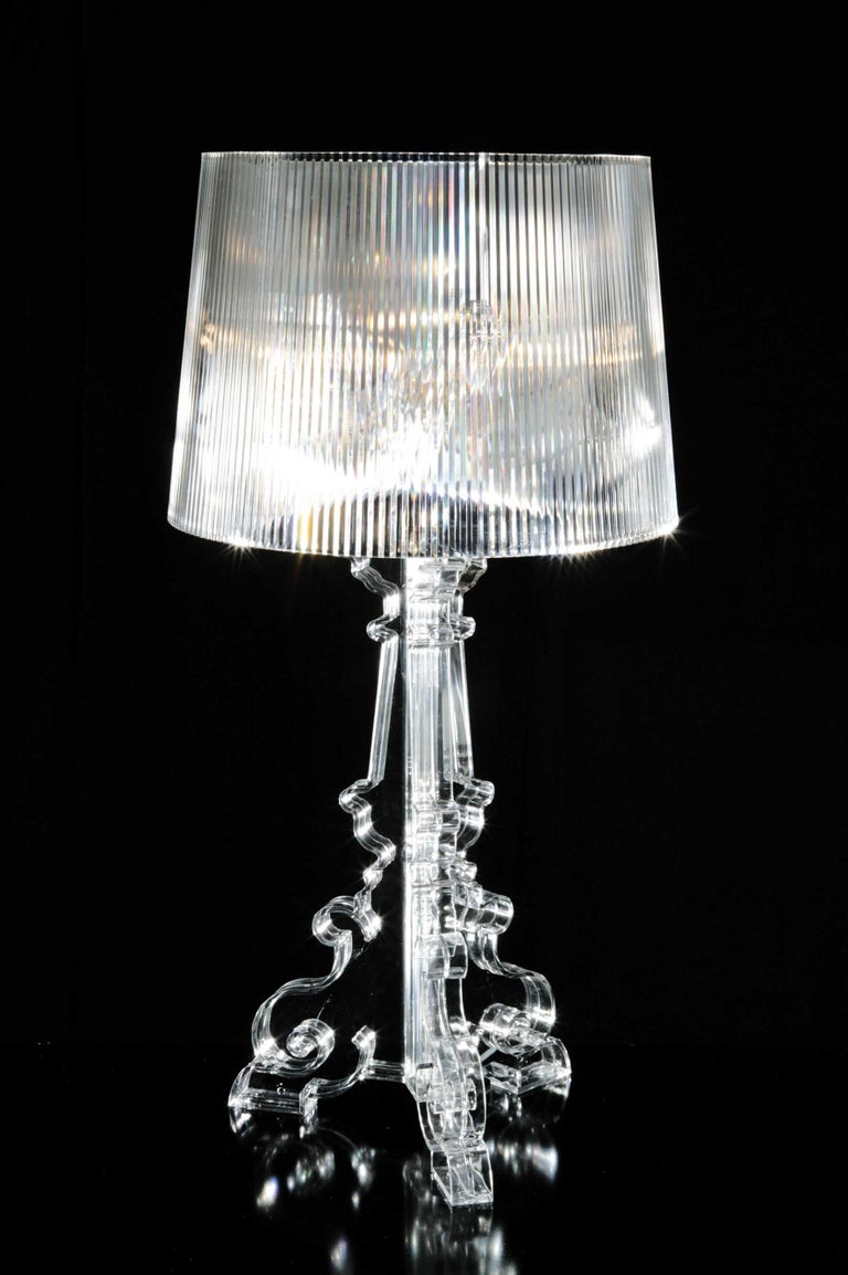 A lamp with an inimitable style, Bourgie is one of Kartell's best sellers, skillfully combining classic style, richness and tradition with innovation and irony. The baroque style base is composed of three interconnecting decorated layers, while the