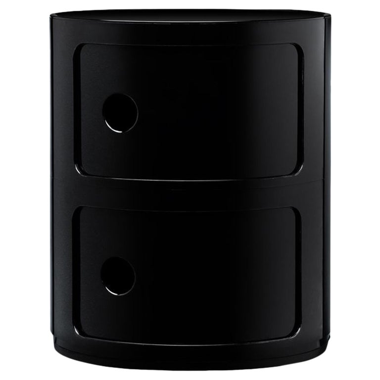 Kartell Componibili 2-Tier Drawer in Black by Anna Castelli Ferrieri For Sale