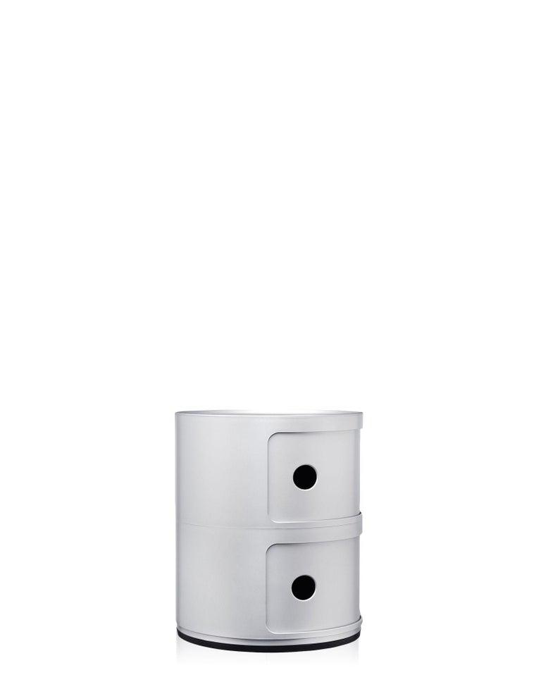 Modern Kartell Componibili 2-Tier Drawer in Matte Silver by Anna Castelli Ferrieri For Sale