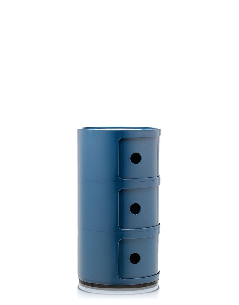 Modern Kartell Componibili 3-Tier Drawer in Blue by Anna Castelli Ferrieri For Sale