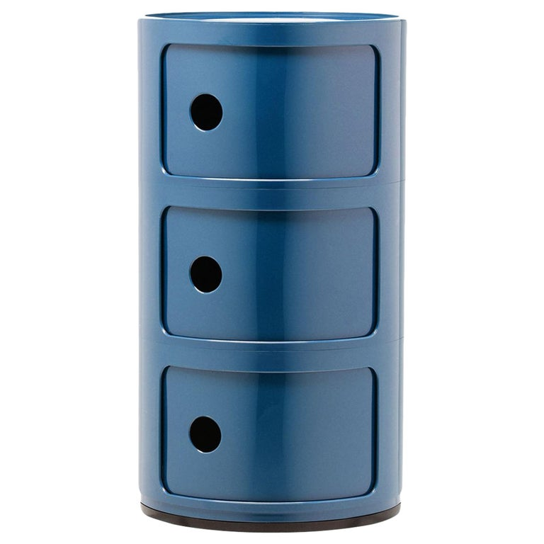 Kartell Componibili 3-Tier Drawer in Blue by Anna Castelli Ferrieri For Sale