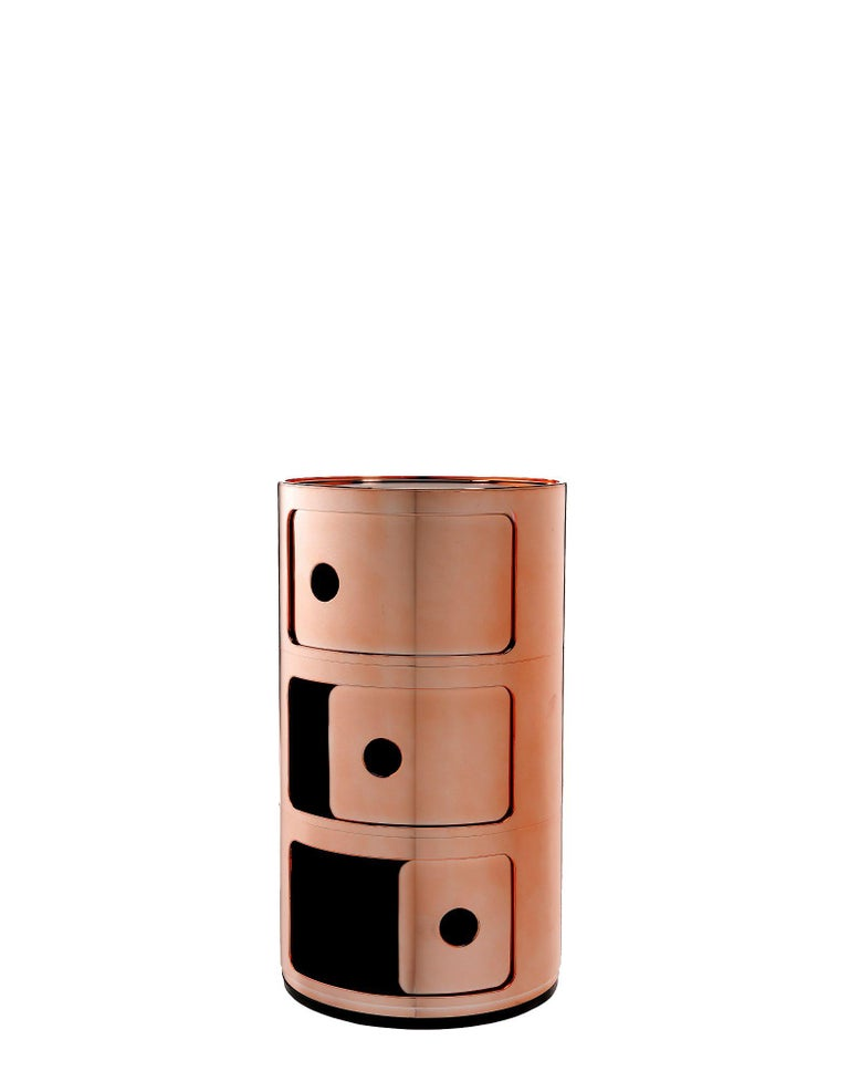 Modern Kartell Componibili 3-Tier Drawer in Copper by Anna Castelli Ferrieri For Sale