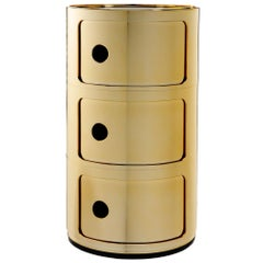 Kartell Componibili 3-Tier Drawer in Gold by Anna Castelli Ferrieri