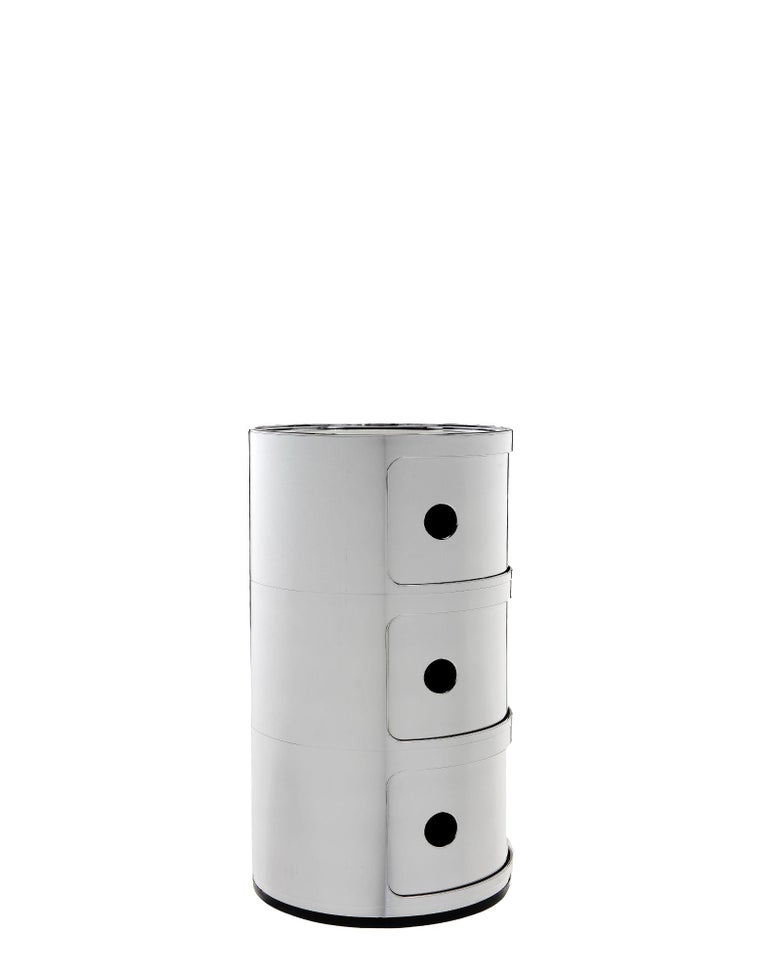 Modern Kartell Componibili 3-Tier Drawer in Matte Silver by Anna Castelli Ferrieri For Sale