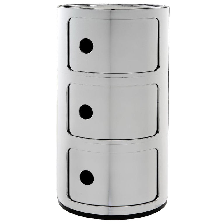 Kartell Componibili 3-Tier Drawer in Matte Silver by Anna Castelli Ferrieri For Sale