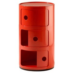 Kartell Componibili 3-Tier Drawer in Red by Anna Castelli Ferrieri