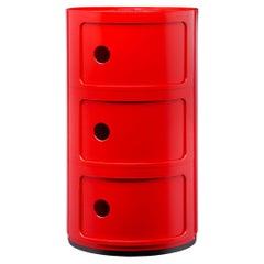 Kartell Componibili 3-Tier Drawer in Red by Anna Castelli Ferrieri