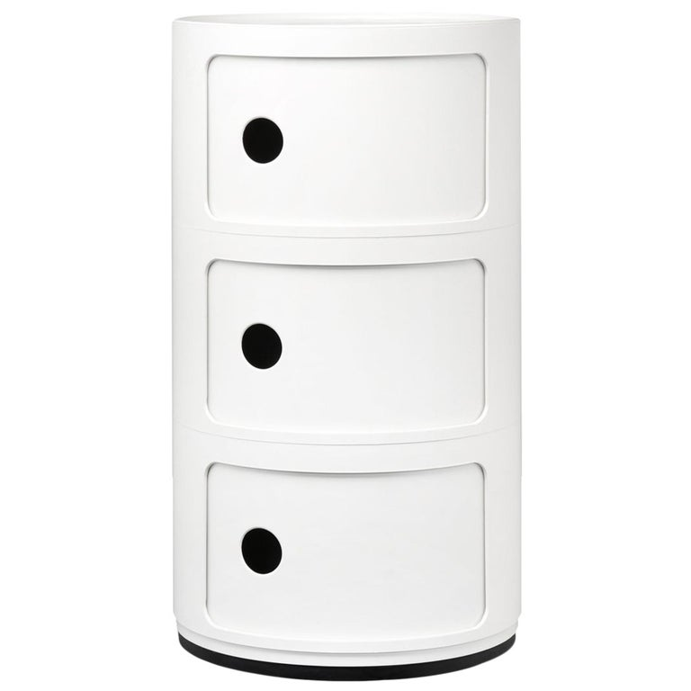 Kartell Componibili 3-Tier Drawer in White by Anna Castelli Ferrieri For Sale