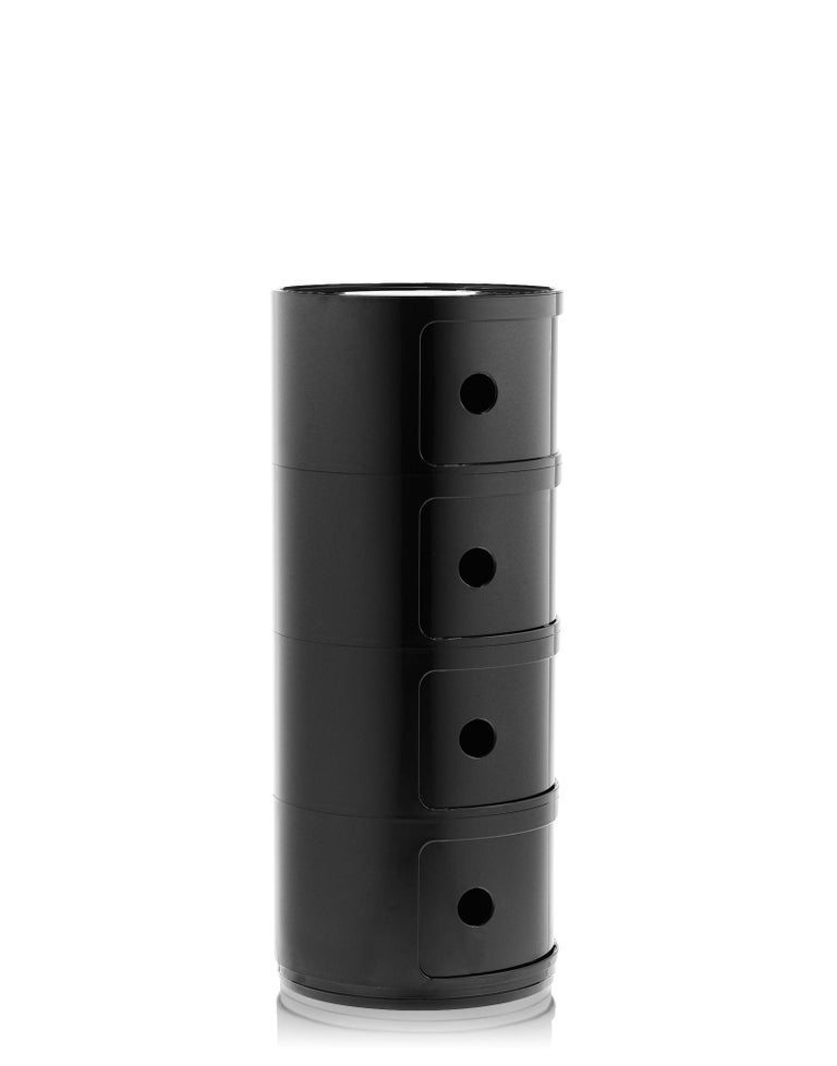 Modern Kartell Componibili 4-Tier Drawer in Black by Anna Castelli Ferrieri For Sale