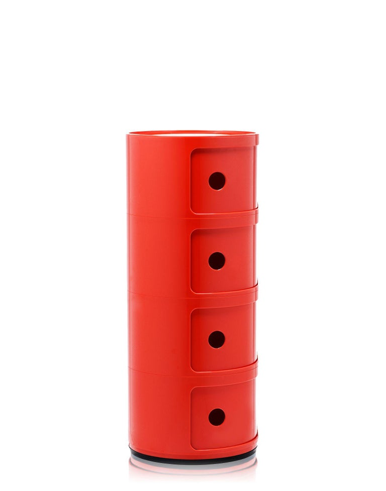 Modern Kartell Componibili 4-Tier Drawer in Red by Anna Castelli Ferrieri For Sale