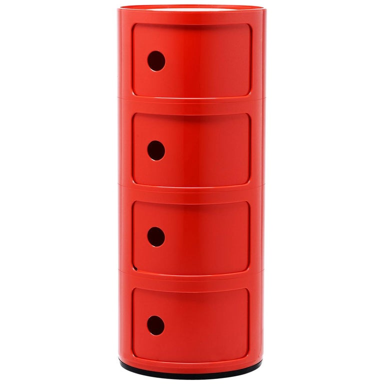 Kartell Componibili 4-Tier Drawer in Red by Anna Castelli Ferrieri For Sale