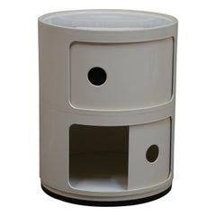 "Kartell ""Componibili"" Round 2-Section Stacking Storage Unit in White, Italy"