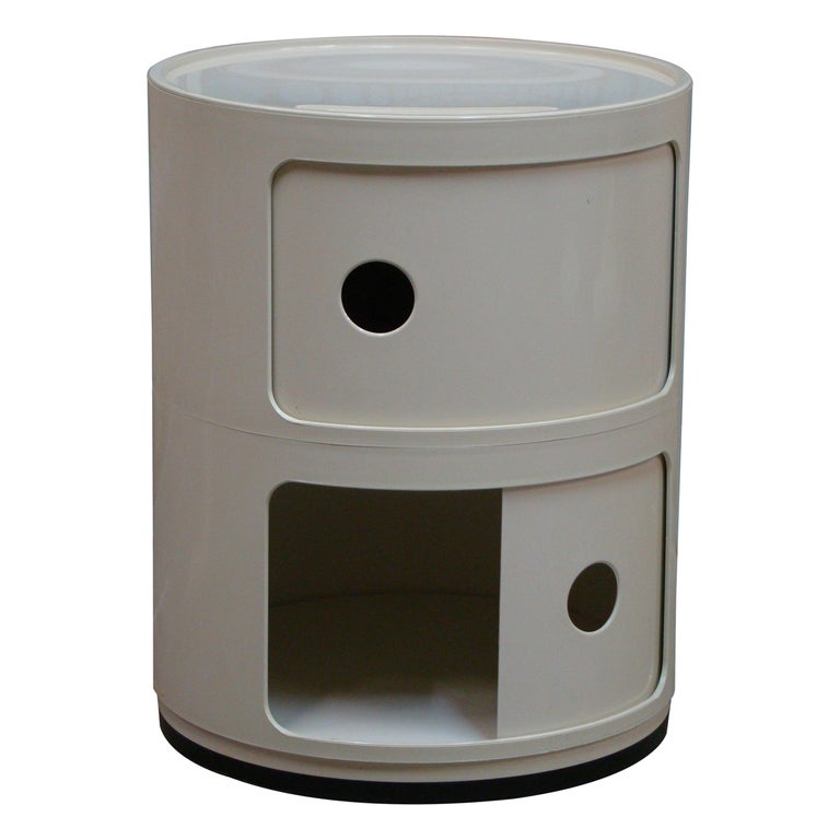 """Kartell """"Componibili"""" Round 2-Section Stacking Storage Unit in White, Italy For Sale"""