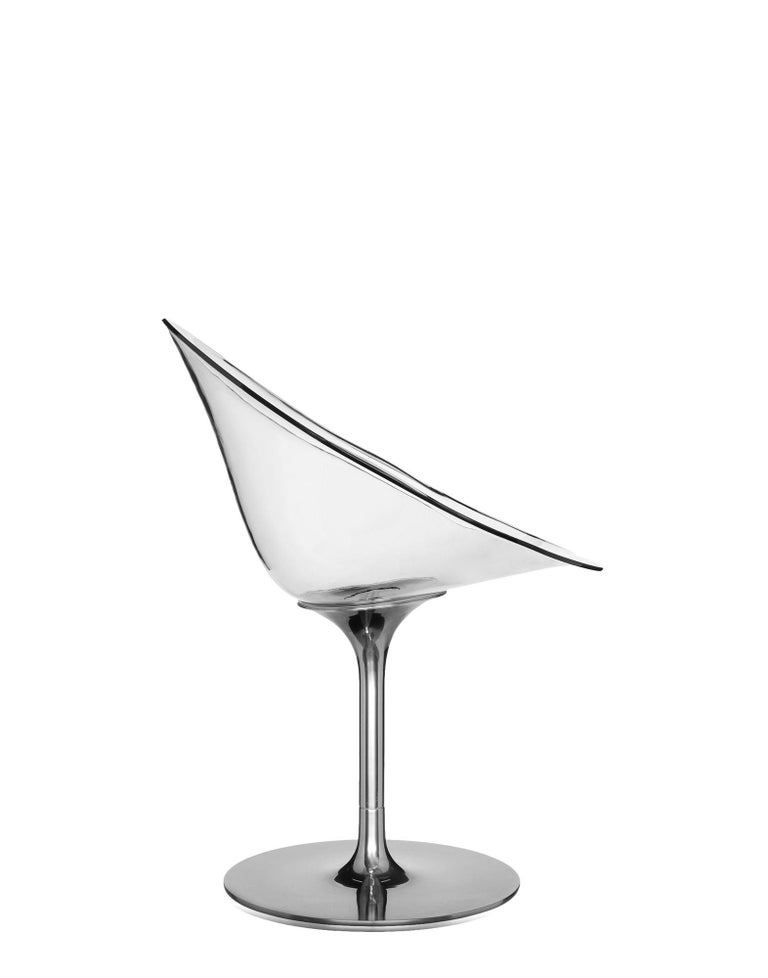 Modern Kartell Eros Swivel Chair in Crystal by Philippe Starck For Sale
