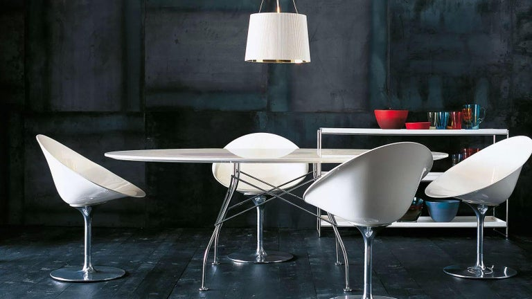 Kartell Eros Swivel Chair in Crystal by Philippe Starck For Sale 2