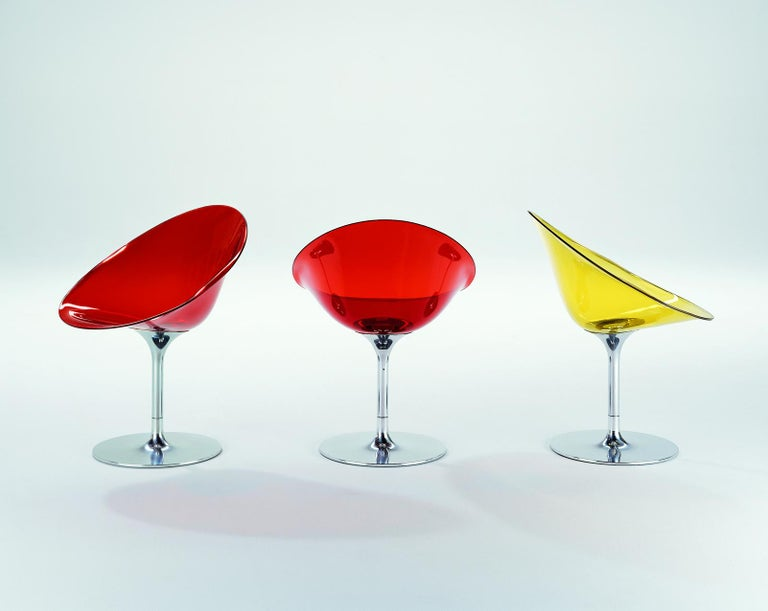 Kartell Eros Swivel Chair in Crystal by Philippe Starck For Sale 3