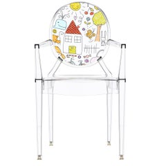 Kartell Lou Lou Ghost Chair in Crystal Drawings by Philippe Starck